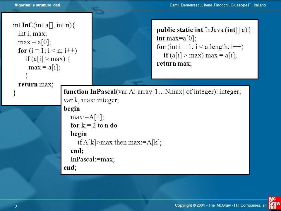 public static int InJava (int[] a){ int max=a[0];